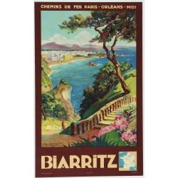 Affiche ancienne originale Biarritz - Pays basque - E PAUL CHAMPSEIX