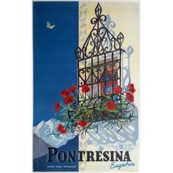Affiche ancienne originale Pontresina Engadin Suisse - Martin PEIKERT