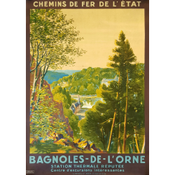 Affiche ancienne originale Bagnoles de l'Orne Maurice PERRONNET