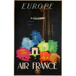 Original vintage poster Air France Europe Edmond MAURUS