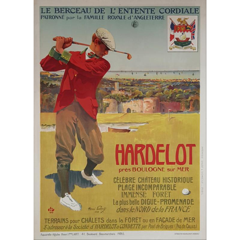 Original vintage poster golf Hardelot 1907 Henri POLART