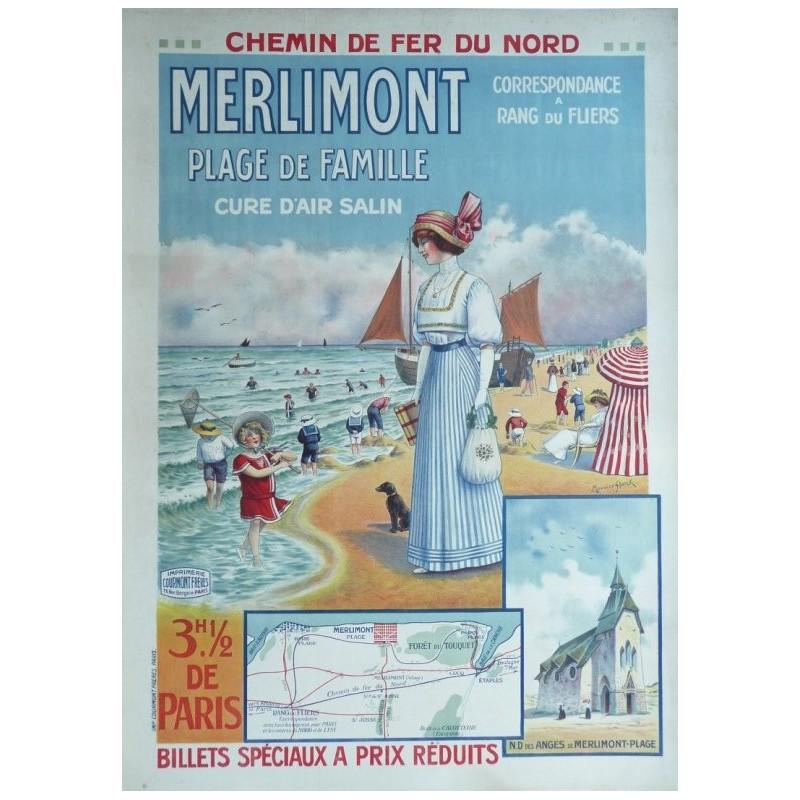 Affiche originale MERLIMONT plage de famille - Maurice SHOTCK