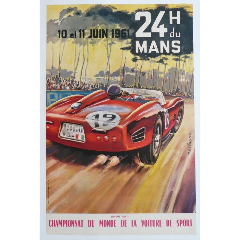 original vintage poster des 24 heures du mans 1961 michel beligond on sale at affiche passion. Black Bedroom Furniture Sets. Home Design Ideas