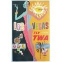 Affiche originale TWA Las Vegas petit format 64 x 39,5 cms - David Klein