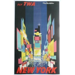 Affiche originale TWA New York petit format - David Klein