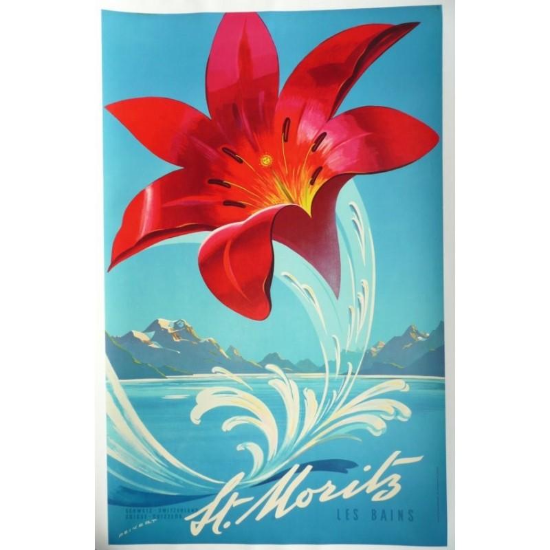 Original vintage poster St Moritz les bains Suisse - Martin PEIKERT