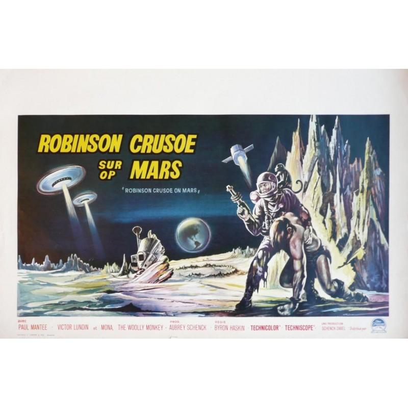 """Affiche originale cinéma belge scifi science fiction """" Robinson crusoe sur mars """" Paramount"""