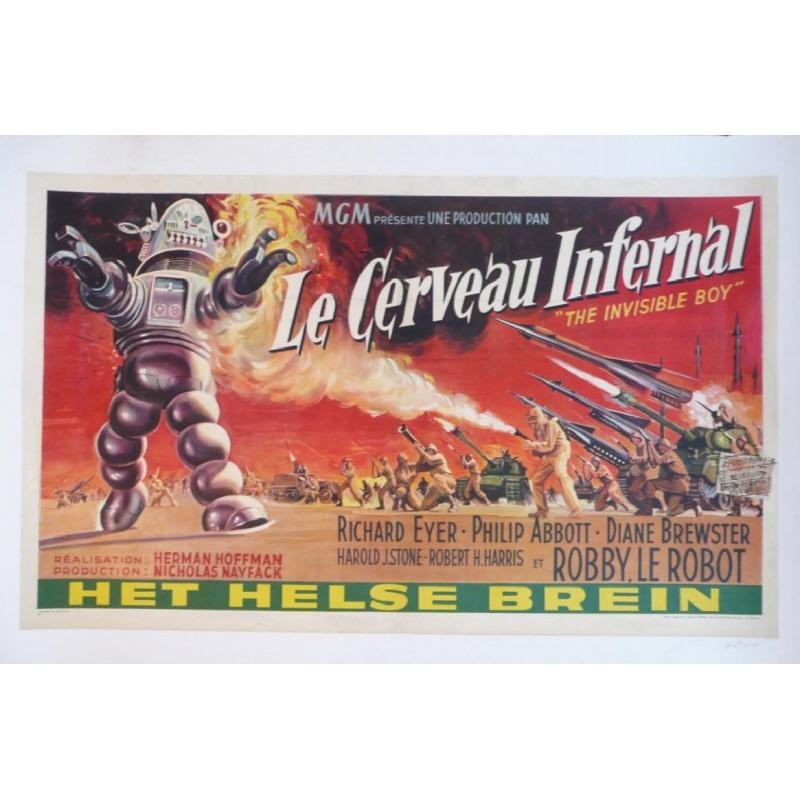 """Affiche originale cinéma belge scifi science fiction """" Le cerveau infernal """" MGM"""