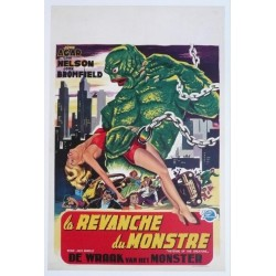 "Affiche originale cinéma belge scifi science fiction "" La revanche du monstre "" Universal"
