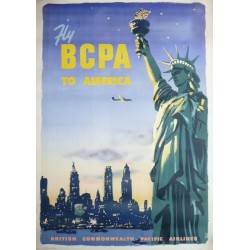 Affiche originale Fly BCPA to America New York