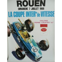 Original viejo cartel Rouen Coupe internationale de vitesse 1968