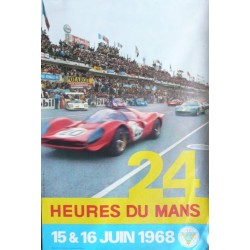 Affiche originale 24 heures du Mans 1968 Photo André Delourmel