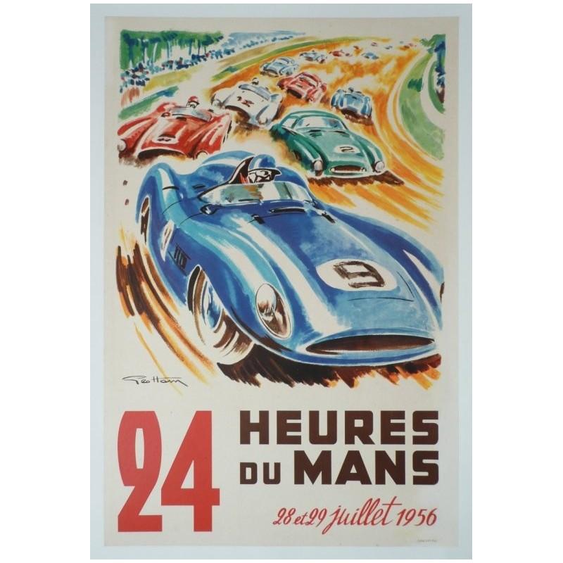 Affiche originale 24 heures du Mans 1956 - Geo HAM
