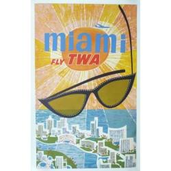 Original vintage poster Fly TWA Miami - David KLEIN