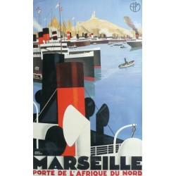 Affiche originale Marseille Porte Afrique du Nord - PLM - Roger BRODERS