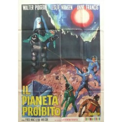 "Affiche originale cinéma Italie science fiction scifi "" Il pianeta Prohibito, Forbidden planet """