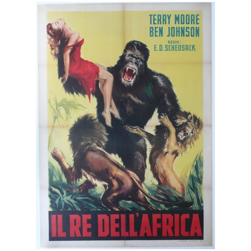 """Original vintage poster cinema Italy """" Il re dell'africa, Mighty Joe Young """""""