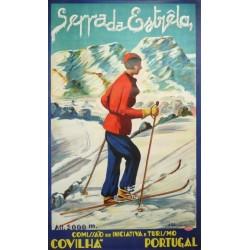 Original viejo cartel esqui ski Portugal Serra da Estrela deportes de invierno - circa 1930