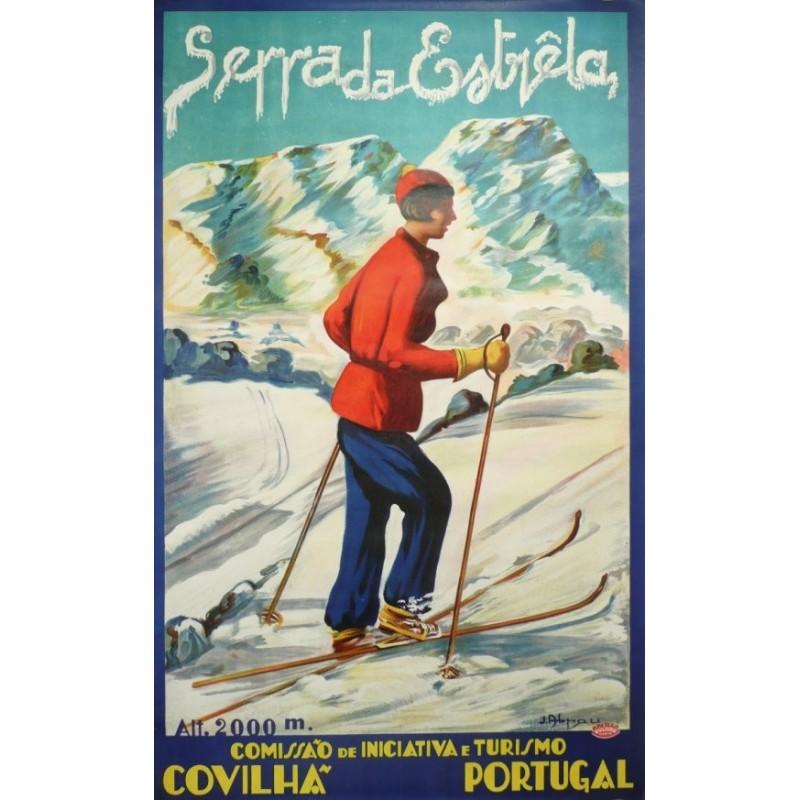 Original vintage poster ski Portugal Serra da Estrela winter sport - circa 1930
