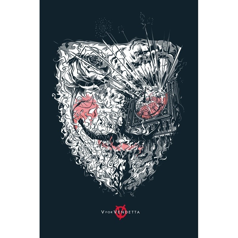 Original silkscreened poster limited edition V for Vendetta - Cesar MORENO - Gallery Mondo