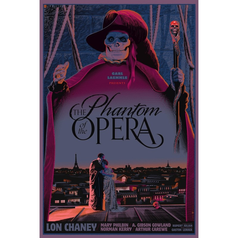 Original silkscreened poster limited variant edition Phantom of the opera - Laurent DURIEUX - Gallery Dark Hall Mansion