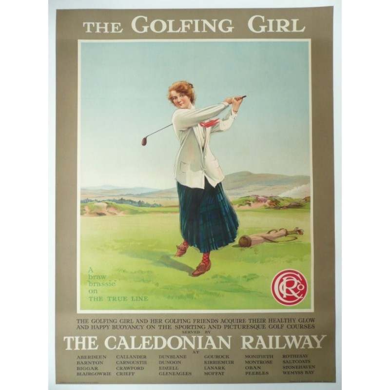 Original vintage poster golf, the golfing girl, caledonian railway