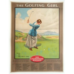 Affiche originale golf, the golfing girl, caledonian railway