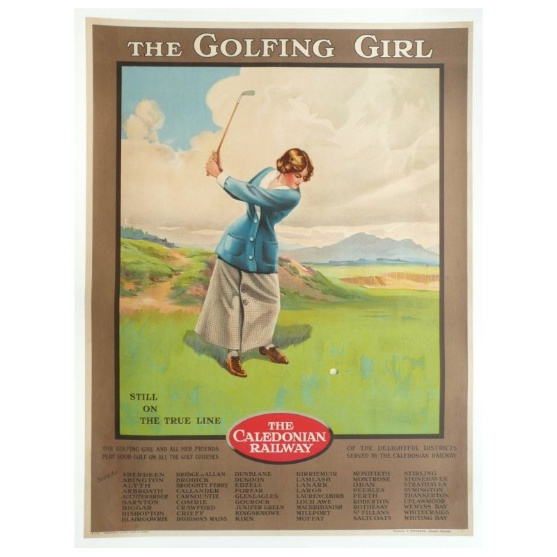 Original vintage poster golf, the golfing girl, caledonian railway