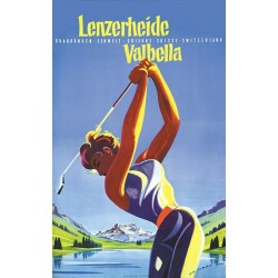 Original viejo cartel golf Lenzerheide Valbella Switzerland - Martin PEIKERT