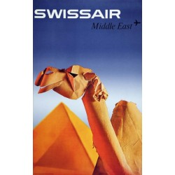 Affiche ancienne originale SWISSAIR Middle East - Niklaus SCHWABE