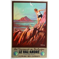 Affiche ancienne originale chemin de Fer de l'Etat - Les Vacances en Bretagne le Val-André - André GALLAND