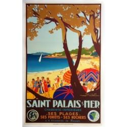 Affiche ancienne originale Saint-Palais-sur-Mer - Chemin de Fer de l'Etat - Roger SOUBIE