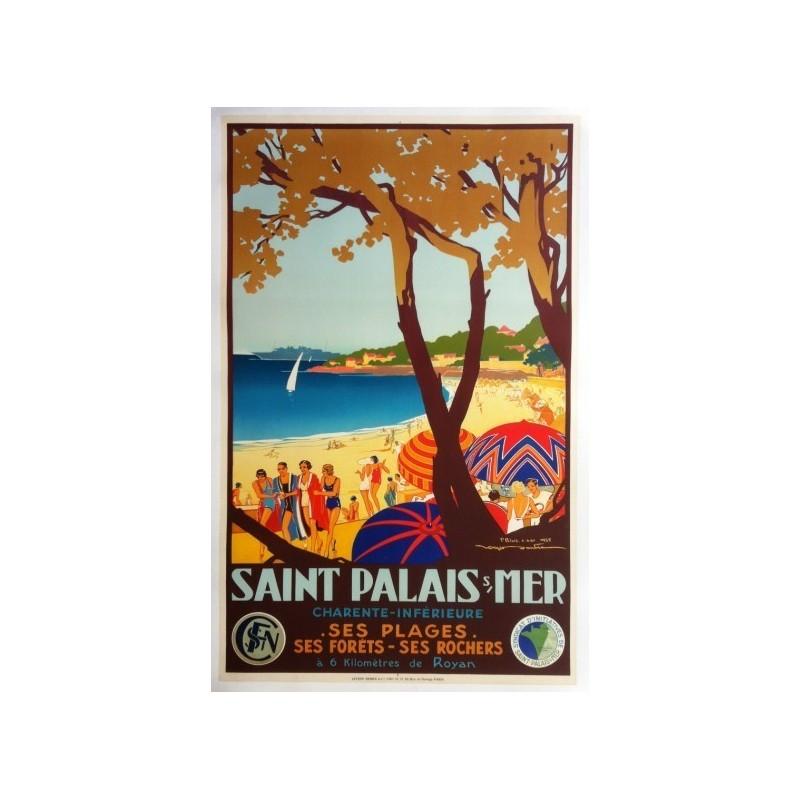 Original vintage poster Saint-Palais-sur-Mer - Chemin de Fer de l'Etat - Roger SOUBIE