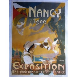 Affiche ancienne originale exposition internationale de l'est de la France NANCY 1909 - P.R. CLAUDIN