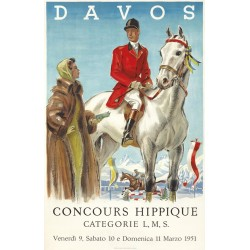 Original vintage poster Davos - Concours Hippique 1951