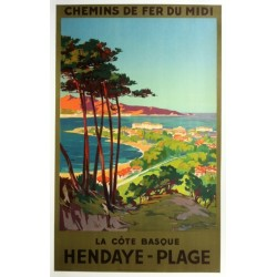 Affiche ancienne originale Hendaye plage - La côte basque - E PAUL CHAMPSEIX