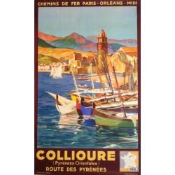 Affiche ancienne originale Collioure - Route des Pyrénées - E PAUL CHAMPSEIX