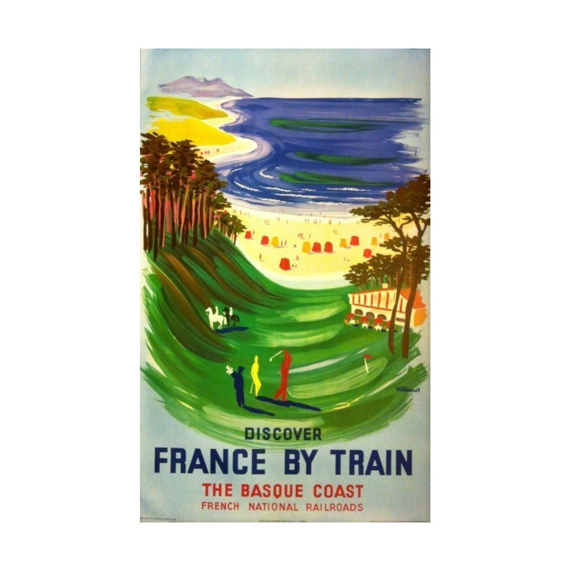 Affiche ancienne originale Discover France by train the basque coast - Bernard Villemot