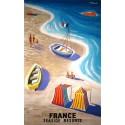 Original vintage poster France seaside resorts, plages de France - Bernard Villemot
