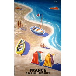 Original vintage poster France seaside resorts, plages de France - Bernard Villemot