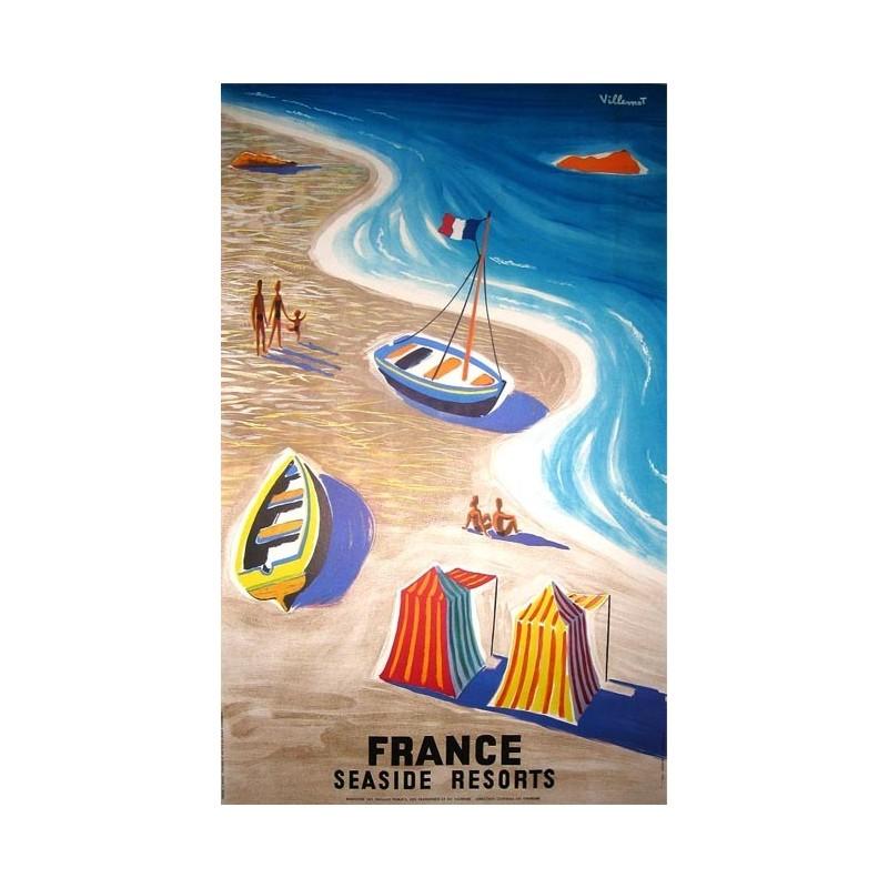 Affiche ancienne originale France seaside resorts, plages de France - Bernard Villemot
