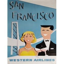 Original vintage travel poster Western Airlines San Francisco