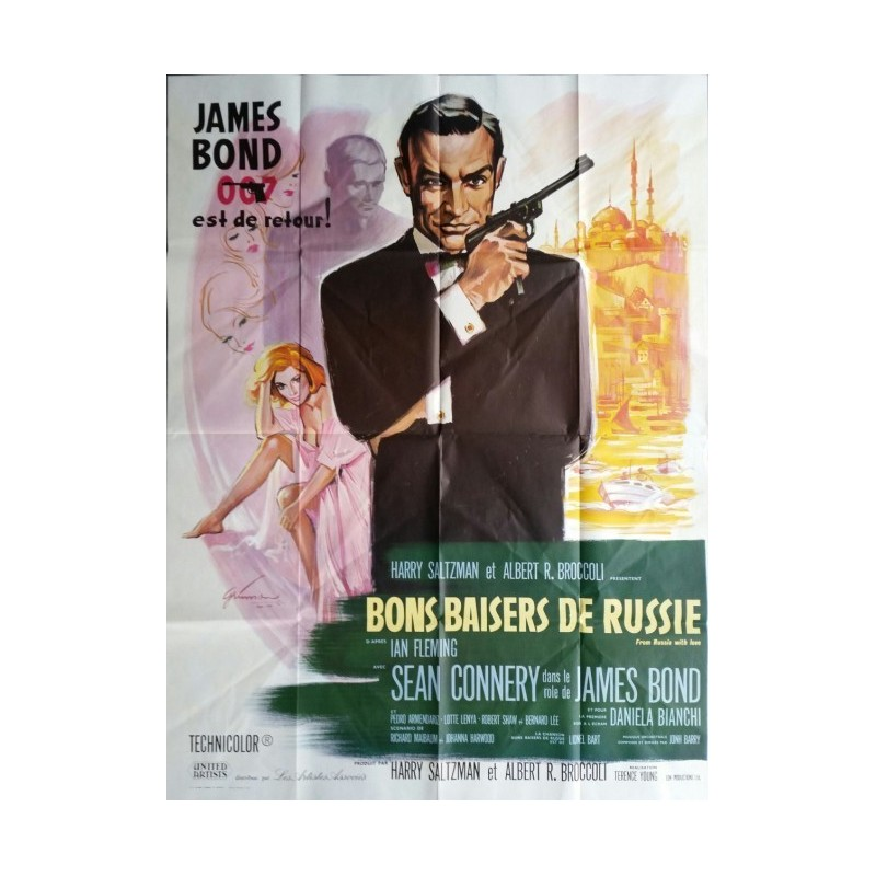 """Original vintage french movie poster James bond 007 """" From Russia with love """" Sean Connery"""