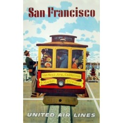 Affiche originale United Airlines San Francisco cable car - Stan GALLI