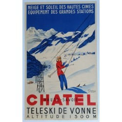 Original vintage poster Chatel Haute Savoie - teleski de Vonne - R. MICHAUD & A. AVRIL
