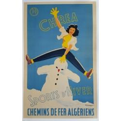 Affiche originale Chrea Sports d'hiver chemins de fer algérien - F CRESPO