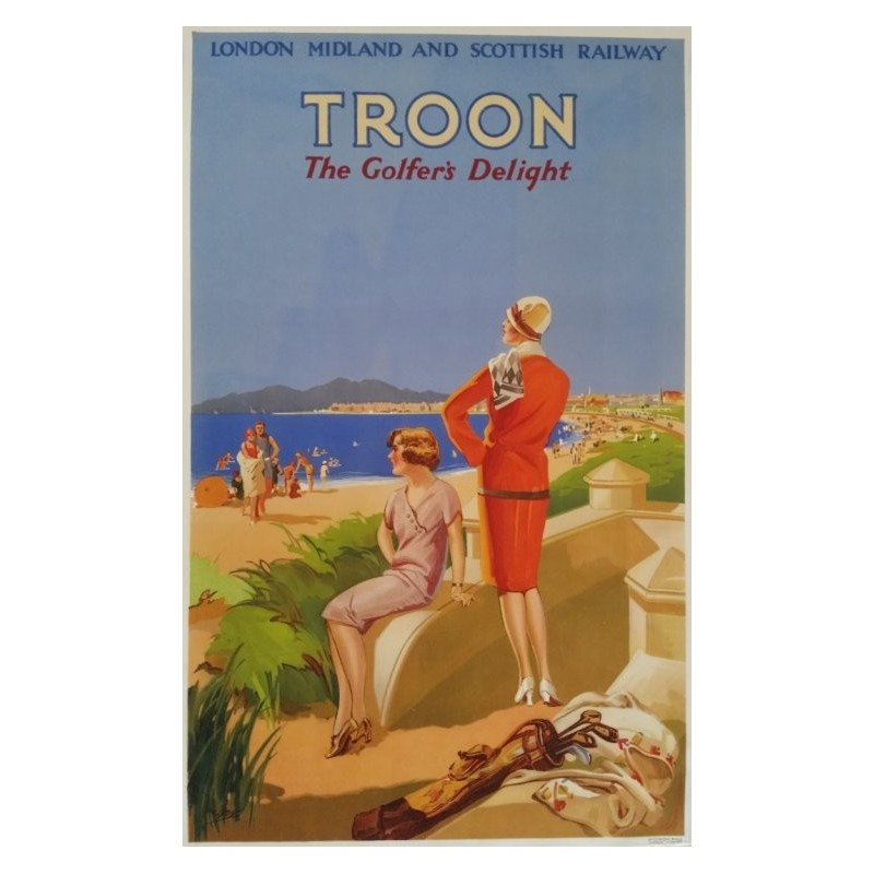 Affiche originale golf Troon the golfer's delight - London Midland and Scottish railway