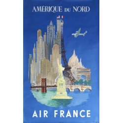Affiche originale Air France Paris New-York Amérique du Nord - Luc Marie BAYLE - Ref 252 / P 7_48