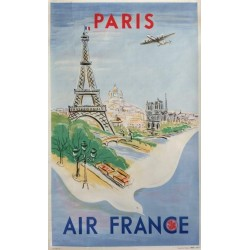 Affiche originale Air France Paris - Régis MANSET - Ref 170 - P/11 - 47