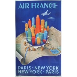Affiche originale Air France PARIS - NEW YORK - Alphonse DEHEDIN - Ref 431 / P. / 2-50